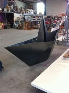 Bateau origami en construction